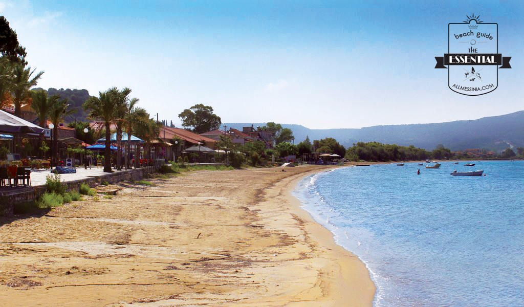 Gialova Bay- The beach on the main part in front of settlements