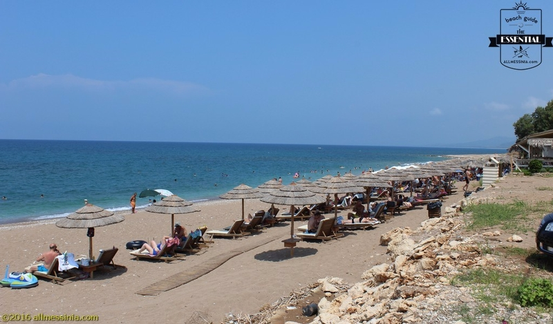 Kalo Nero Beach Kyparissia - View of the beach and sun loungers