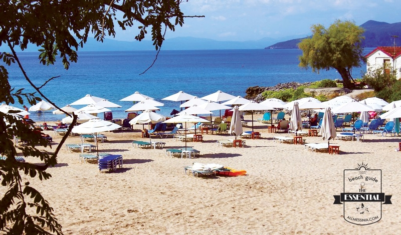 Kalogria Beach - Family friendly containing sunbeds and umbrellas
