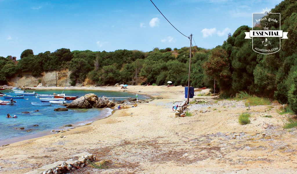 Vromoneri beach - Full of green scenery ( trees and bushes)